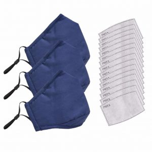 3pcs Cotton Mask Anti Dust Protection with 15pcs Pm2.5 Activated Carbon Filters Fabric Mouth Face