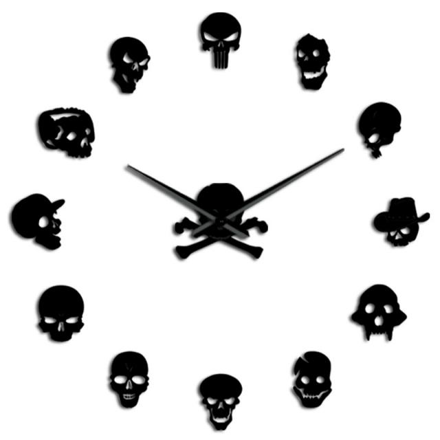 High-Quality Skull Heads DIY Horror Wall Art Giant Wall Clock Big Needle Frameless Zombie Heads Large Wall Watch Halloween Decor
